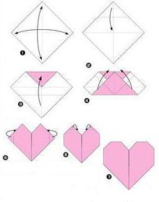 origami srce iz papirja sheme