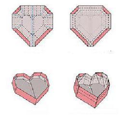 papirna origami srčna volumetrična shema