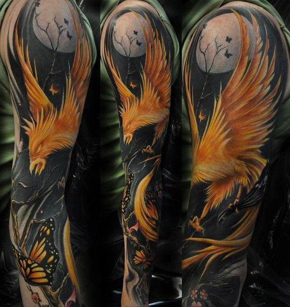 tatuaggio di uccello fenice