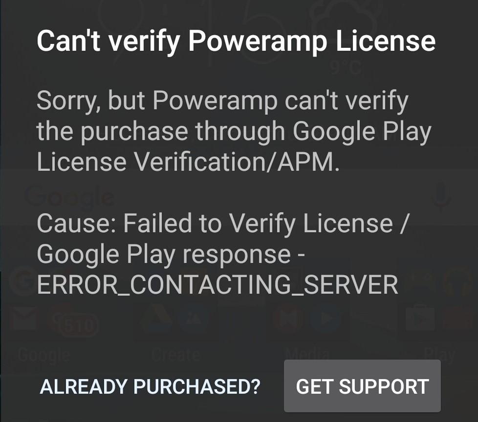 Chyba licence PowerAmp