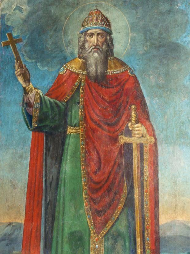 Vladimir con una croce e una spada
