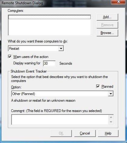 riavviare il computer da remoto