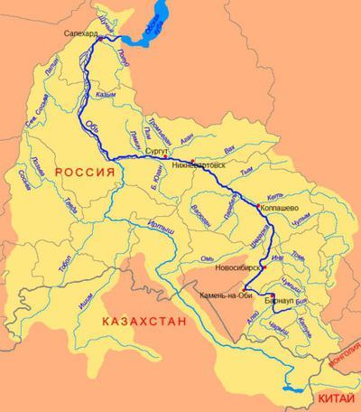 Rijeka Ob na karti