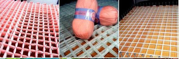 tappeto fai-da-te fatto di pompon