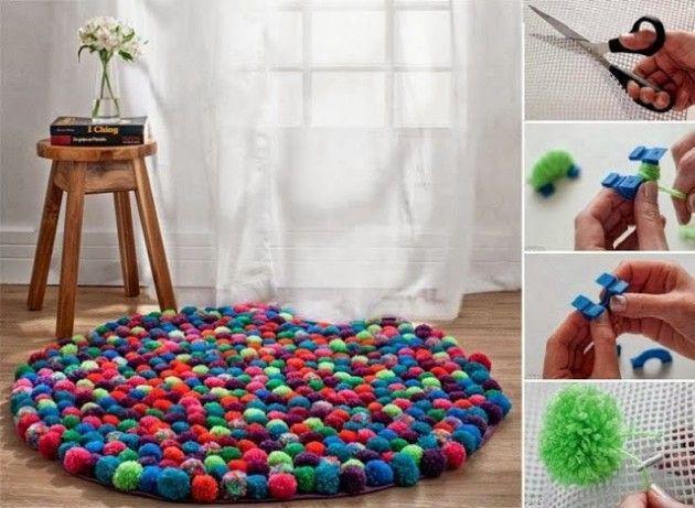 tappeto fatto di pompon fai da te