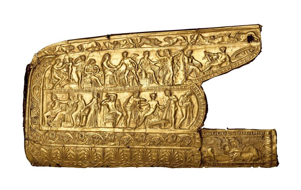 Bruciature sovrapposte in oro.  Tumulo di Chertomlyk.  Conservato nel Museo statale dell'Ermitage