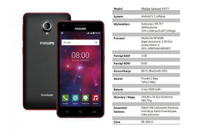 smartphone Philips xenium v377