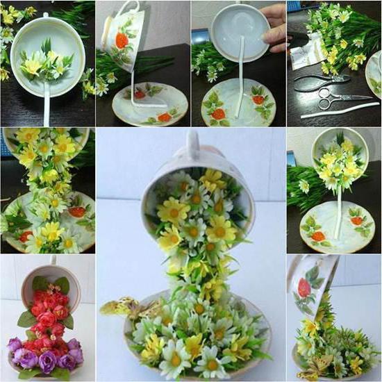 fotografija lebdeće čaše s cvijećem
