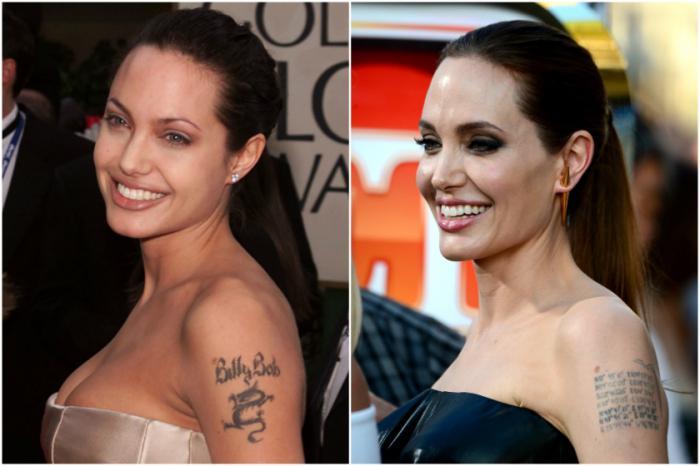 Angelina Jolie tetování na ramenech