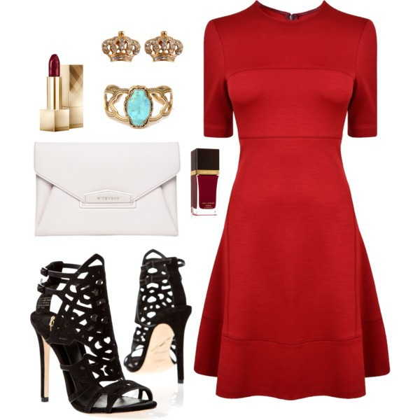 Тъкани обувки с червена рокля