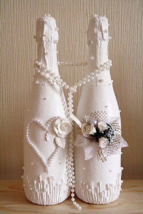 decorazione della bottiglia da sposa fai-da-te