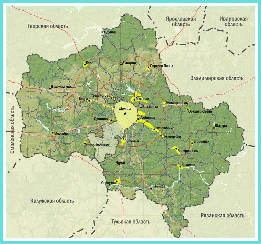 Zemljevid Moskovske regije