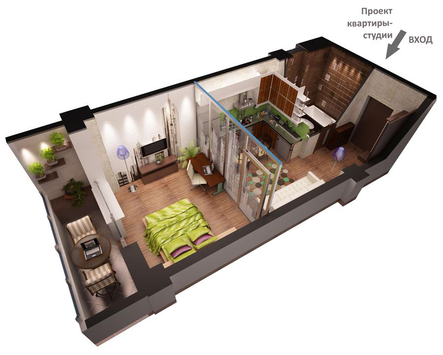 Progetto di appartamento studio 3D