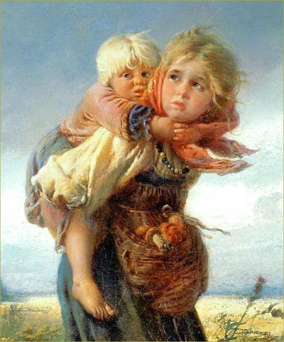 esej na slici djece koja trče od oluja
