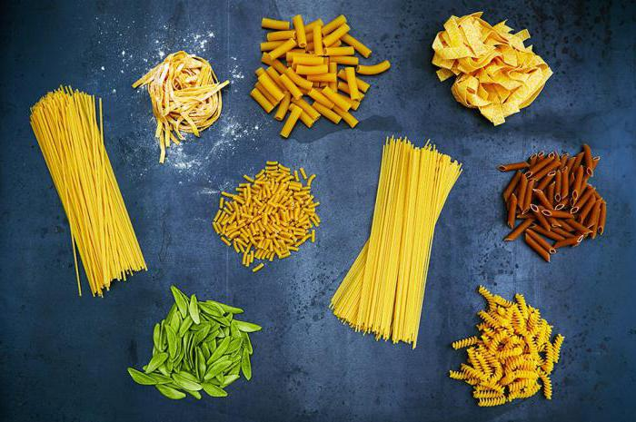 tipi diversi di pasta