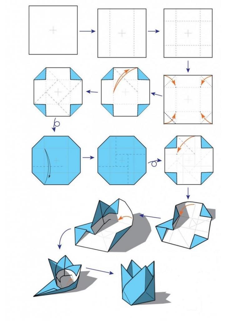 schema di vaso origami