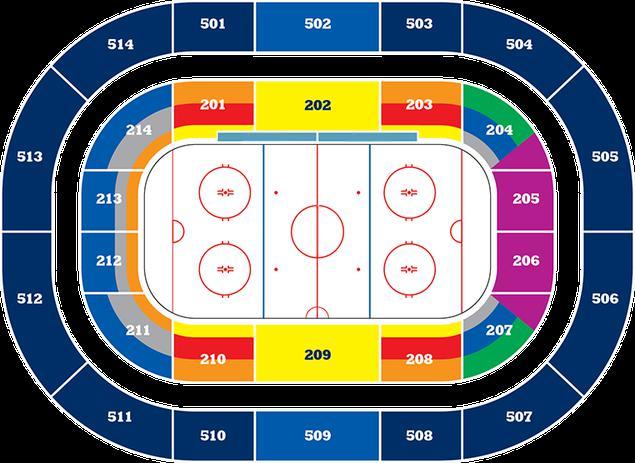 Lo schema della grande sala della VTB Arena con una pista di hockey