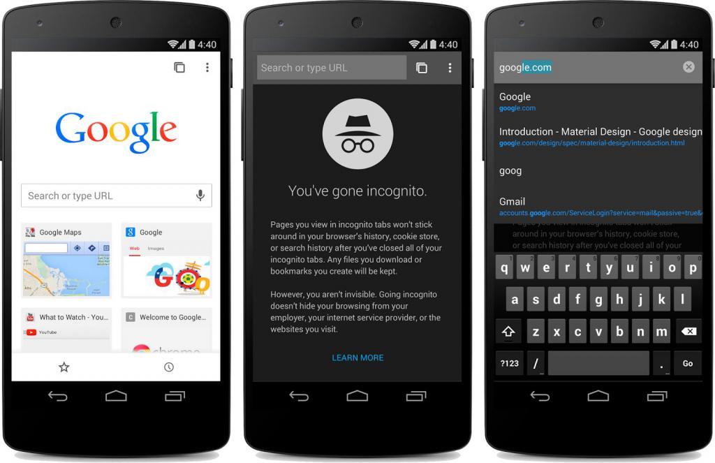 Chromium supporta la modalità di navigazione in incognito su Android