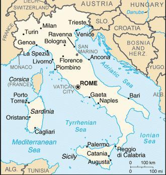 Italia sulla mappa del mondo