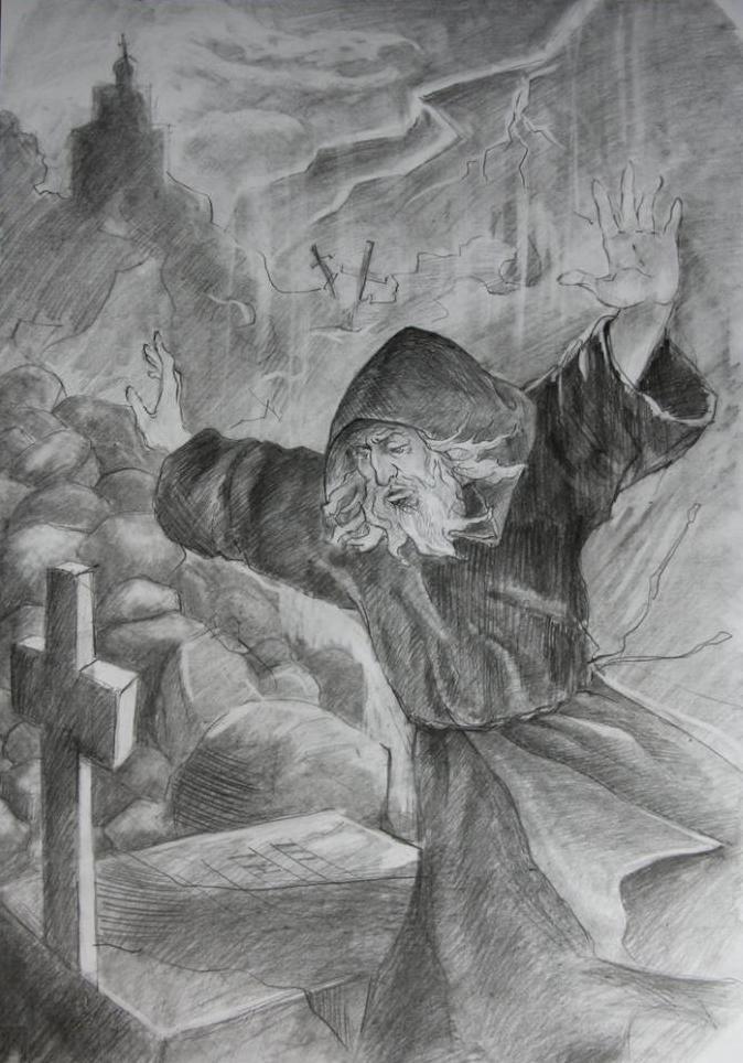 Монах над гроба на Мцири