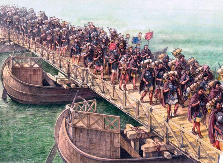 Le truppe attraversano il fiume