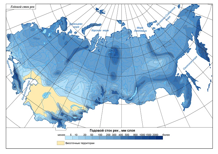 godišnji protok rijeka Rusije