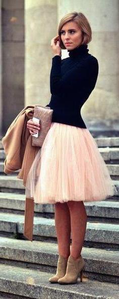 cosa indossare con una gonna un pacchetto di tulle