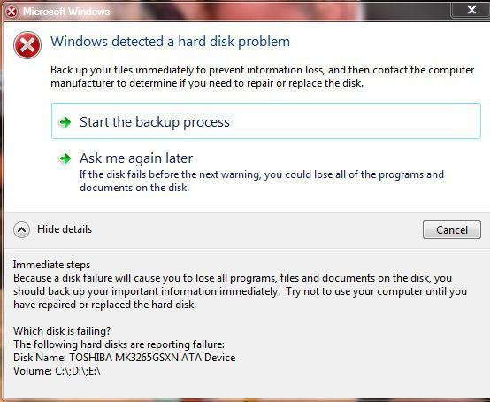 prozori su otkrili probleme s tvrdim diskom