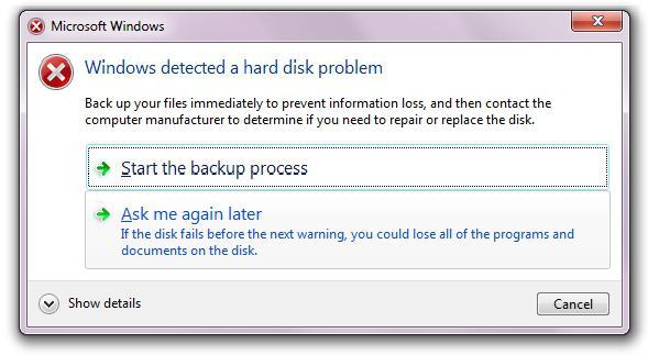 ako Windows otkrije probleme s tvrdim diskom