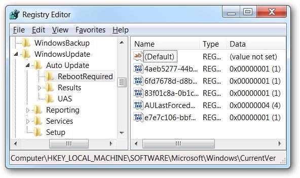 Disabilita il riavvio automatico nel registro