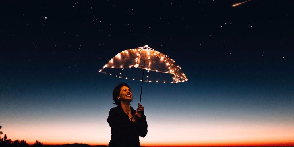 parasol w świetle