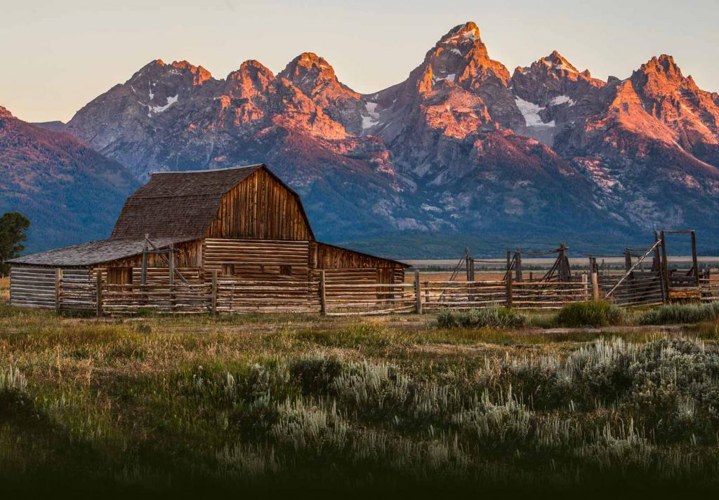 Tramonto nelle montagne del Wyoming