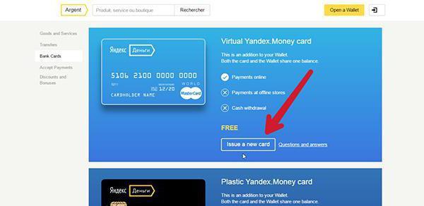 come trasferire denaro a una carta Yandex virtuale